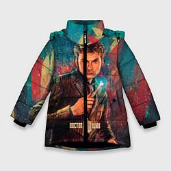 Детская зимняя куртка для девочки с принтом Доктор кто, цвет: 3D-черный, артикул: 10065373406065 — фото 1