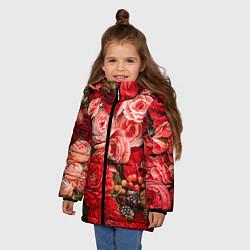 Детская зимняя куртка для девочки с принтом Ассорти из цветов, цвет: 3D-черный, артикул: 10067033606065 — фото 2
