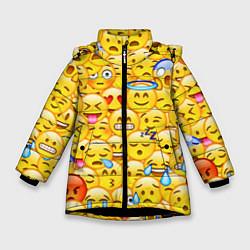 Куртка зимняя для девочки Emoji цвета 3D-черный — фото 1