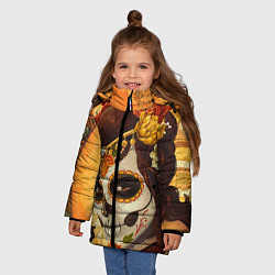 Детская зимняя куртка для девочки с принтом Девушка. Сахарный череп, цвет: 3D-черный, артикул: 10071140306065 — фото 2