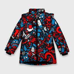Куртка зимняя для девочки Стикербомбинг цвета 3D-черный — фото 1