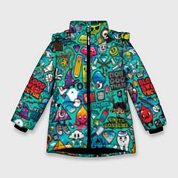 Зимняя куртка для девочки Стикербомбинг