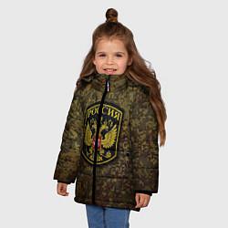 Куртка зимняя для девочки Камуфляж: Россия цвета 3D-черный — фото 2
