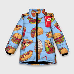 Куртка зимняя для девочки Еда цвета 3D-черный — фото 1