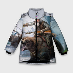 Детская зимняя куртка для девочки с принтом Русский воин на медведе, цвет: 3D-черный, артикул: 10071970706065 — фото 1