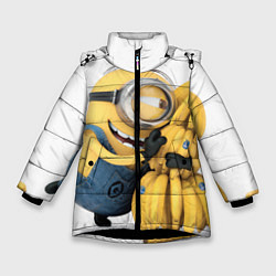 Куртка зимняя для девочки Minion loves banana цвета 3D-черный — фото 1
