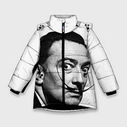 Куртка зимняя для девочки Сальвадор Дали цвета 3D-черный — фото 1