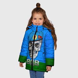 Детская зимняя куртка для девочки с принтом Череп: ВДВ, цвет: 3D-черный, артикул: 10077769406065 — фото 2
