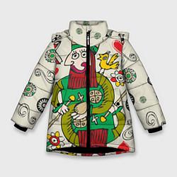 Куртка зимняя для девочки Червовый король цвета 3D-черный — фото 1