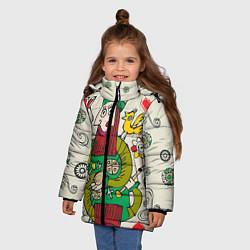 Детская зимняя куртка для девочки с принтом Червовый король, цвет: 3D-черный, артикул: 10079042306065 — фото 2