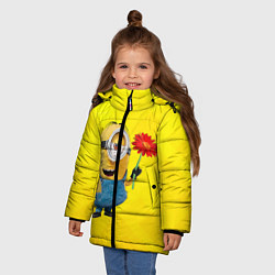 Куртка зимняя для девочки Цветочек цвета 3D-черный — фото 2