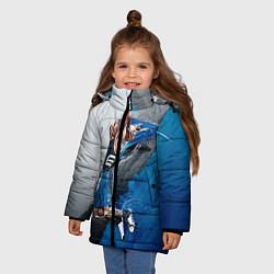 Куртка зимняя для девочки Баскетбол бросок цвета 3D-черный — фото 2