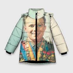 Детская зимняя куртка для девочки с принтом Гагарин в орденах, цвет: 3D-черный, артикул: 10082403806065 — фото 1