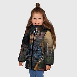 Детская зимняя куртка для девочки с принтом Сталин военный, цвет: 3D-черный, артикул: 10082408306065 — фото 2