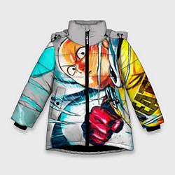 Куртка зимняя для девочки One Punch Man Rage цвета 3D-черный — фото 1