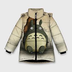 Куртка зимняя для девочки Тоторо под деревом цвета 3D-черный — фото 1