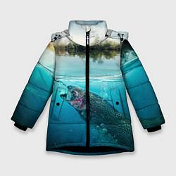Куртка зимняя для девочки Рыбалка на спиннинг цвета 3D-черный — фото 1