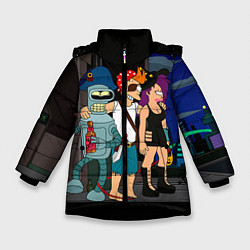 Детская зимняя куртка для девочки с принтом Футурама пати, цвет: 3D-черный, артикул: 10092145706065 — фото 1
