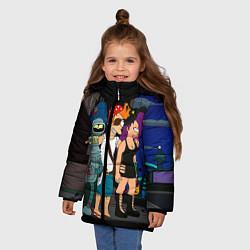 Куртка зимняя для девочки Футурама пати цвета 3D-черный — фото 2