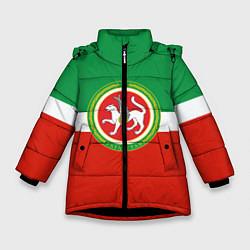 Детская зимняя куртка для девочки с принтом Татарстан: флаг, цвет: 3D-черный, артикул: 10094275106065 — фото 1
