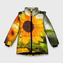 Куртка зимняя для девочки Подсолнухи цвета 3D-черный — фото 1