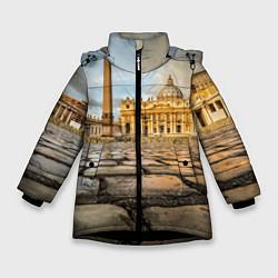 Куртка зимняя для девочки Площадь святого Петра цвета 3D-черный — фото 1