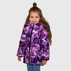 Куртка зимняя для девочки Цветочки цвета 3D-черный — фото 2