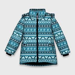 Куртка зимняя для девочки Винтажный орнамент цвета 3D-черный — фото 1