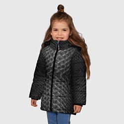Куртка зимняя для девочки Черная кожа цвета 3D-черный — фото 2