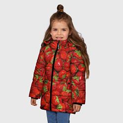 Куртка зимняя для девочки Клубнички цвета 3D-черный — фото 2