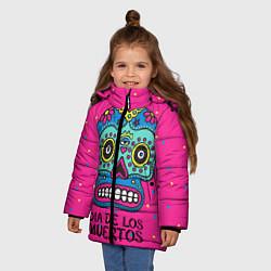 Куртка зимняя для девочки Мексиканский череп цвета 3D-черный — фото 2