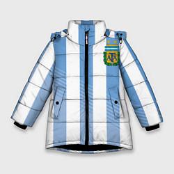 Куртка зимняя для девочки Сборная Аргентины: ЧМ-2018 цвета 3D-черный — фото 1