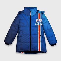 Куртка зимняя для девочки Сборная Исландии по футболу цвета 3D-черный — фото 1