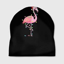 Шапка Новогодний Фламинго цвета 3D-принт — фото 1