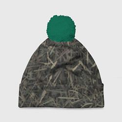 Шапка с помпоном Камуфляж с холодным оружием цвета 3D-зеленый — фото 1