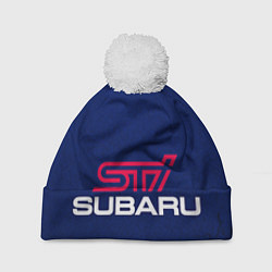 Шапка с помпоном Subaru STI цвета 3D-белый — фото 1