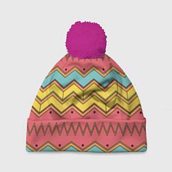 Шапка с помпоном Цветные зигзаги цвета 3D-малиновый — фото 1