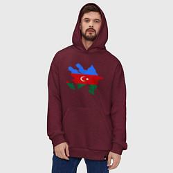 Толстовка-худи оверсайз Azerbaijan map цвета меланж-бордовый — фото 2