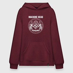 Толстовка-худи оверсайз Machine Head MCMXCII цвета меланж-бордовый — фото 1