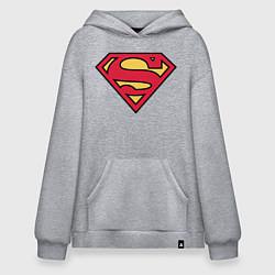 Толстовка-худи оверсайз Superman logo цвета меланж — фото 1