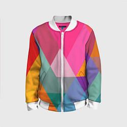 Бомбер детский Разноцветные полигоны цвета 3D-белый — фото 1