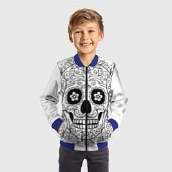 Бомбер детский Мексиканский череп цвета 3D-синий — фото 2