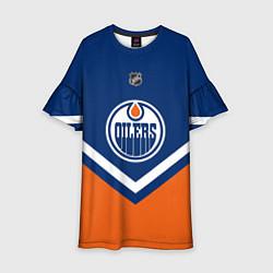 Платье клеш для девочки NHL: Edmonton Oilers цвета 3D-принт — фото 1