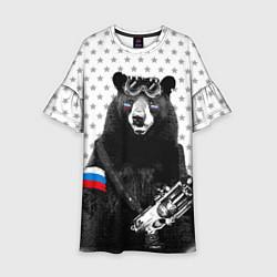 Платье клеш для девочки Армейский медведь цвета 3D — фото 1