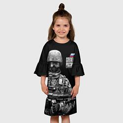 Платье клеш для девочки Служу России цвета 3D — фото 2