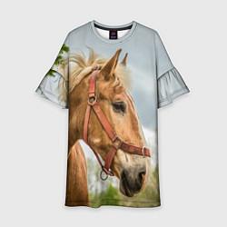 Платье клеш для девочки Игривая лошадка цвета 3D-принт — фото 1