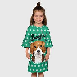 Платье клеш для девочки Beagle Face цвета 3D — фото 2