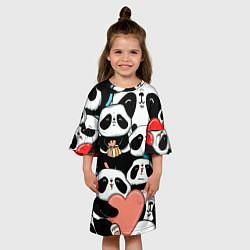 Платье клеш для девочки Панды цвета 3D-принт — фото 2