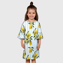 Платье клеш для девочки Лимоны цвета 3D-принт — фото 2