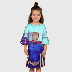 Платье клеш для девочки КАПИТАН ТРАМП цвета 3D — фото 2